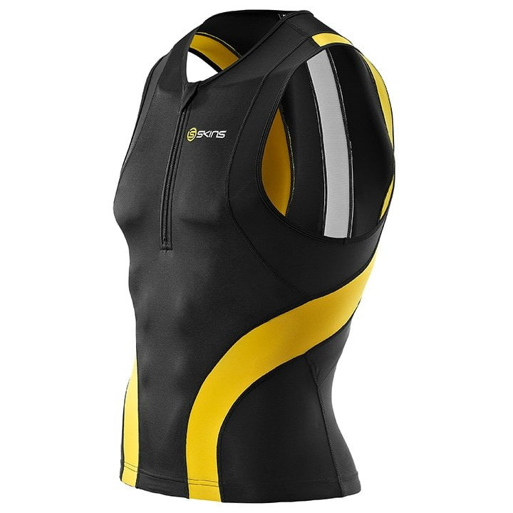 SKINS Tri400 schwarz-gelb Tri Top, für Herren, Größe XL, Triathlon-Top, Triathlo
